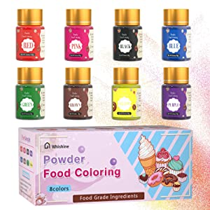Powder Food Coloring for Cake Decorating - Whishine 5.1 OZ Water Based Food Dye Powdered Food Color Kit, 8 Colors Edible Icing Color Set for Baking Cookies Fondant Macaron Kids Slime