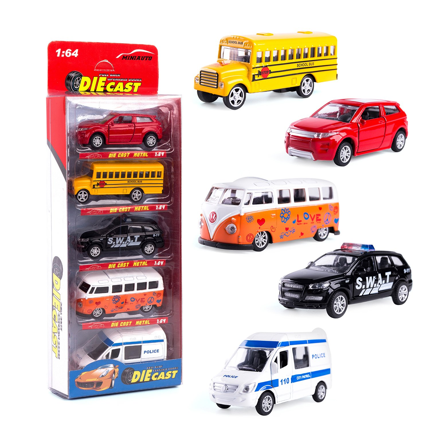 KIDAMI Die Cast Metal Toy Cars Set of 5 Openable Doors Pull Back Car Gift Pack for Kids Official car