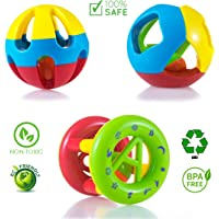 WISHKEY Kid's Plastic Non-Toxic, Shake and Grab Ball, Educational and Developmental Toys with Storage Bag Baby Rattles -Set of 3