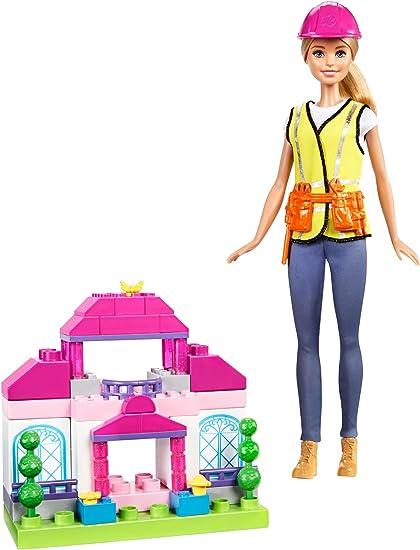 New Barbie Mega Bloks Doll Blonde Hair Blue Top with Pink Skirt