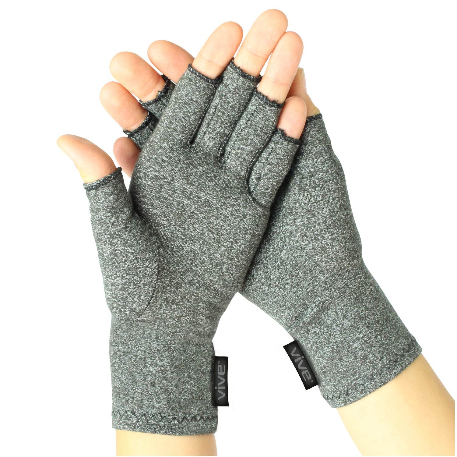 Vive Arthritis Gloves - Compression Glove for Rheumatoid, Osteoarthritis - Heat Hand Gloves for Computer Typing, Arthritic Joint Pain Relief, Carpal Tunnel - Men, Women - Open Finger Thumb (Large)
