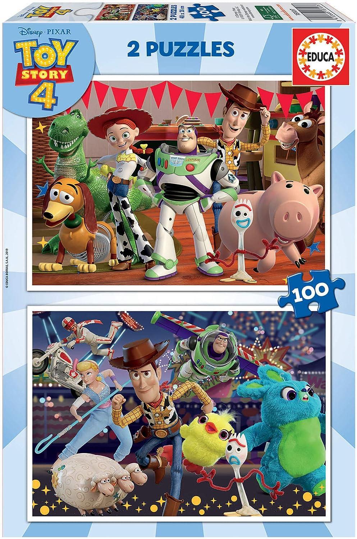 Educa Borrás 2 puzzles infantiles, 100 piezas, Toy Story 4, a partir de 72 meses, color variado, 2 X 100 (18107) , color/modelo surtido