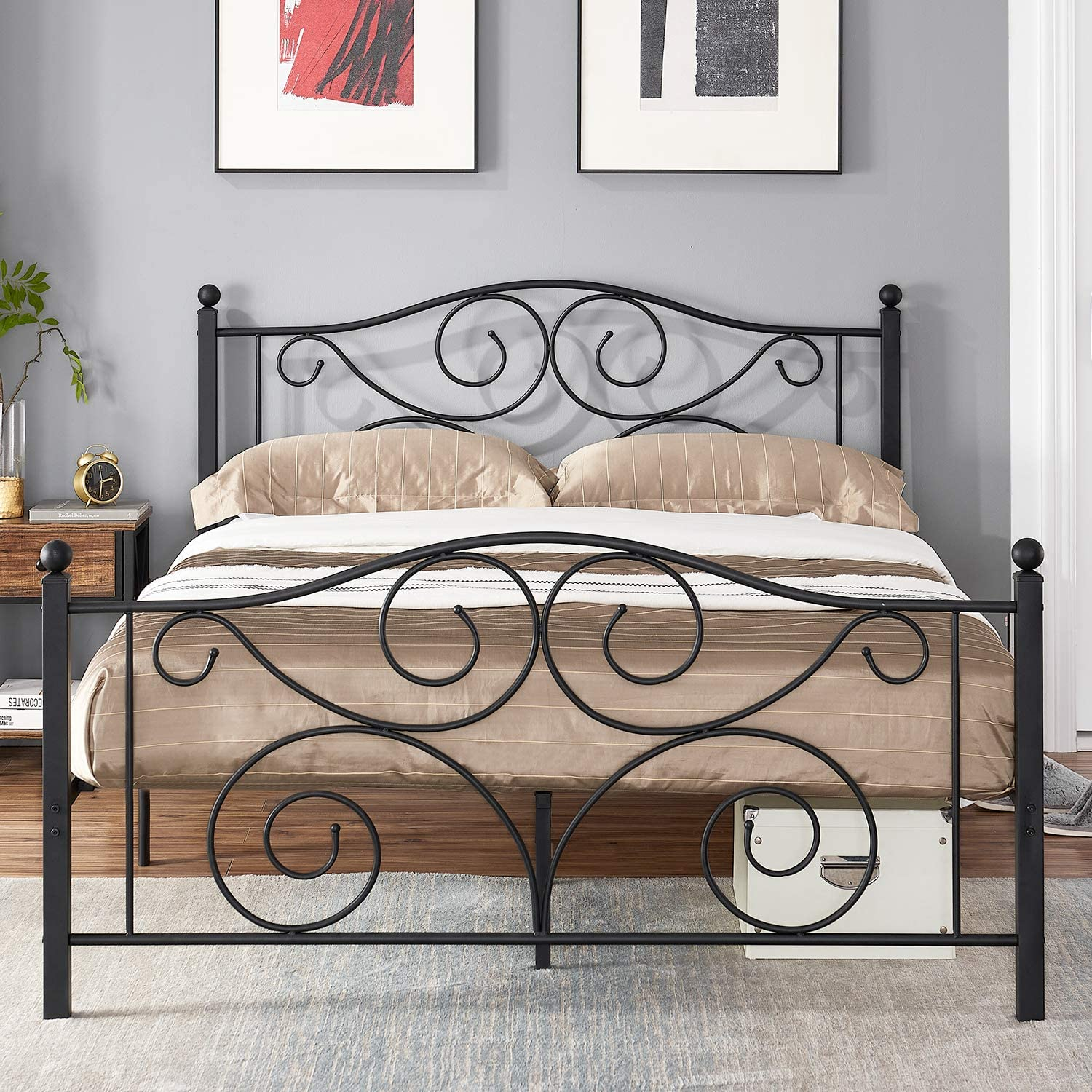 VECELO Metal Bed Frame Platform Mattress Foundation with Headboard & Footboard Box Spring Replacement, Heavy Duty & Quick Assembly, Queen, Deluxe Black