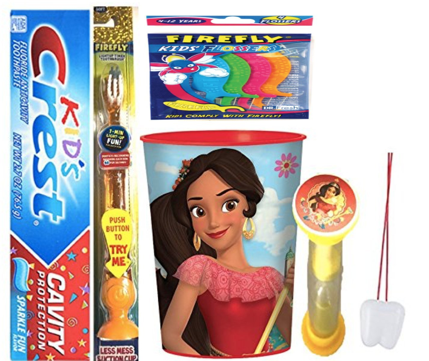 Elena of Avalor Inspired 4pc Bright Smile Oral Hygiene Bundle! Flashing Lights Toothbrush, Toothpaste, Brushing Timer & Mouthwash Rinse Cup! Plus Bonus Flossers and Remember to Brush Visual Aid!
