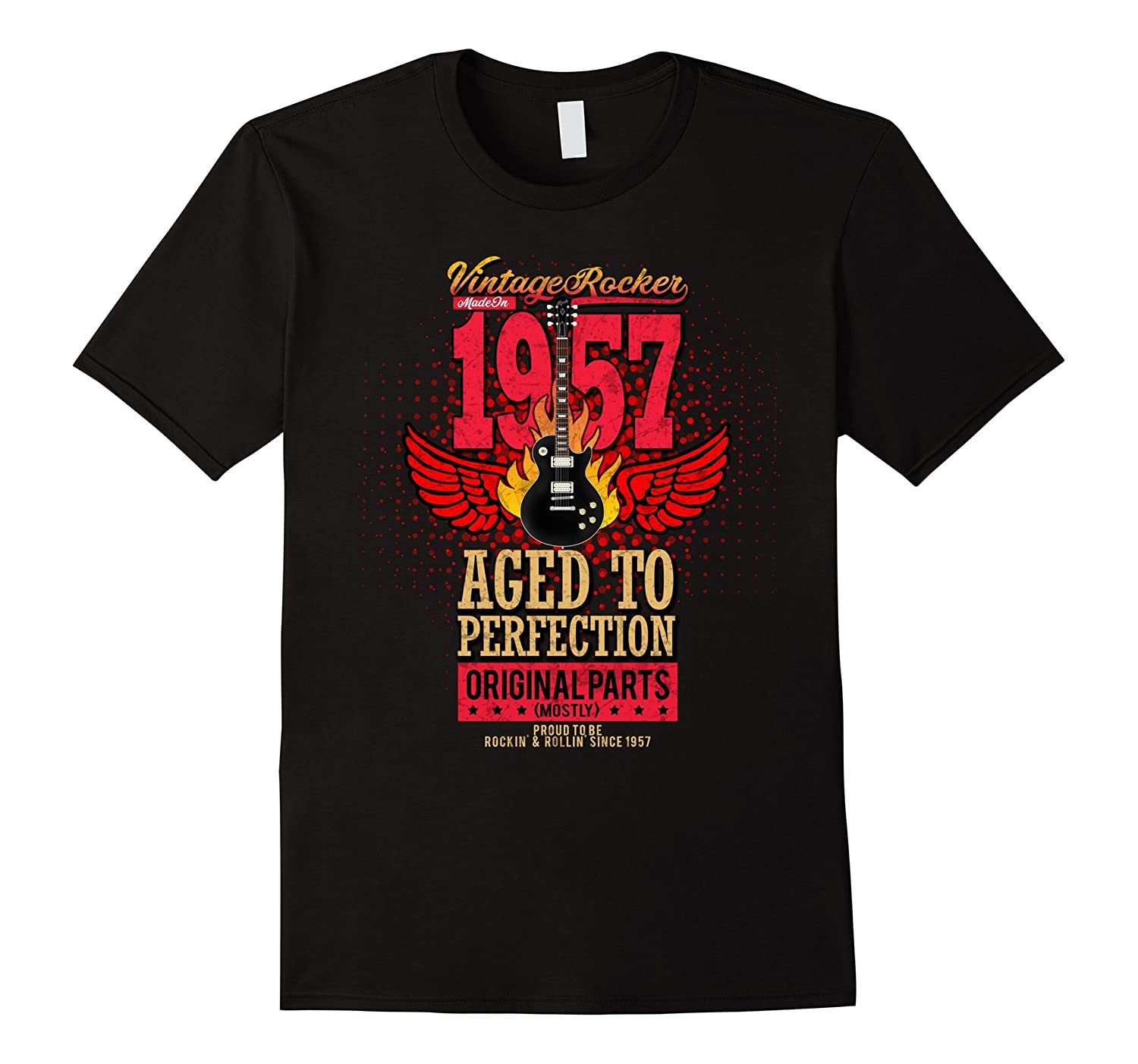 1957 Birthday Gift Vintage Rocker Aged To Perfection Shirt-Vaci
