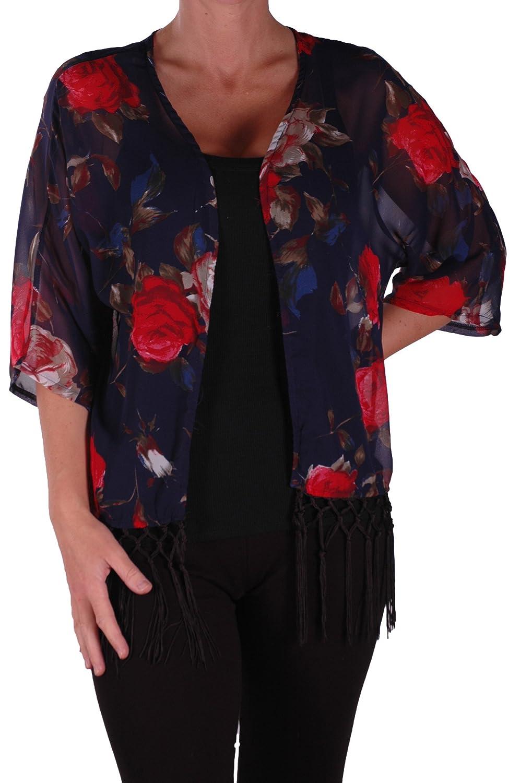 Eyecatch - Alice Womens Floral Chiffon Fringed Kimono Open Cardi Ladies Top One Size