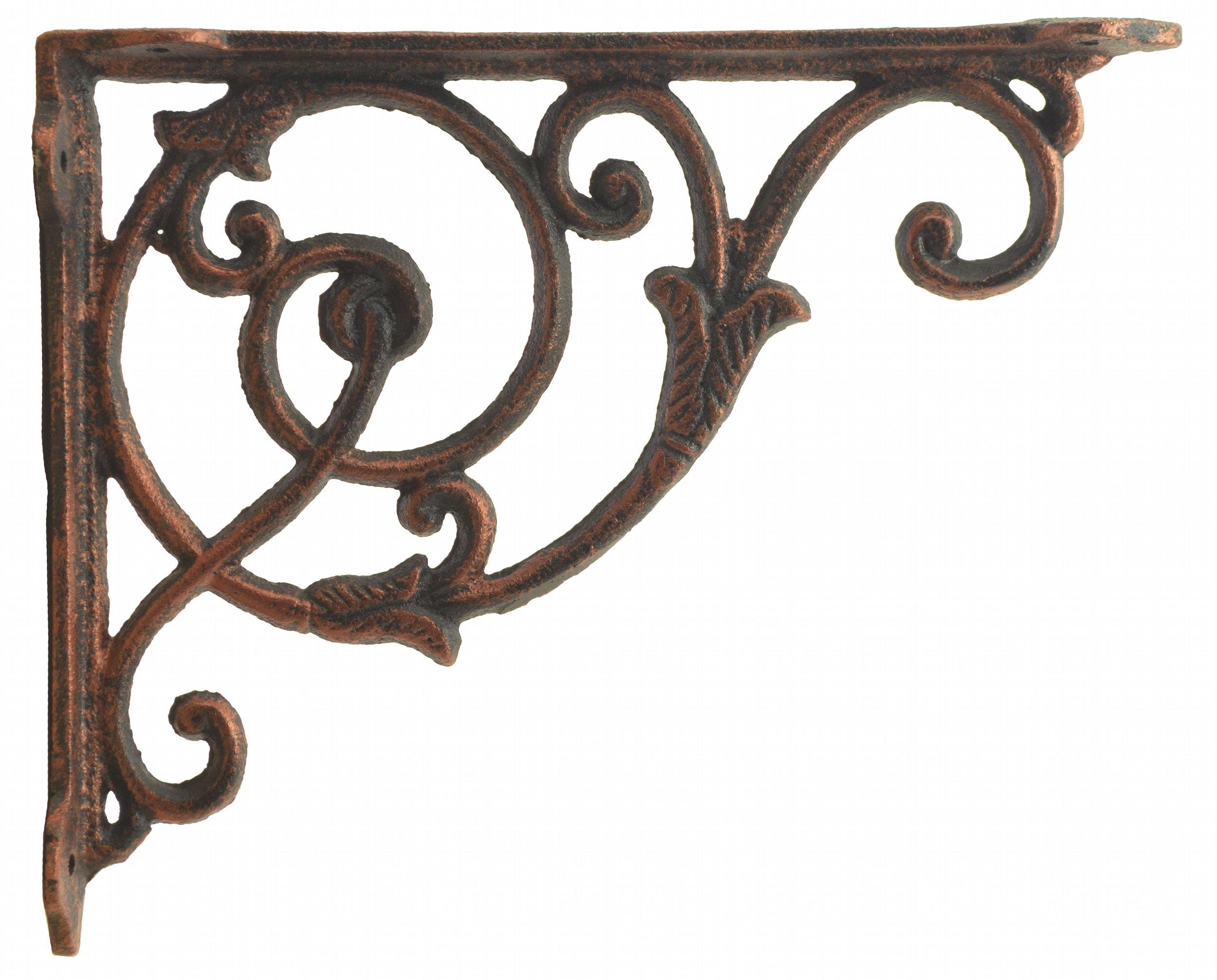 Decorative Cast Iron Wall Shelf Bracket Ornate Vine Bronze 8.5'' Deep