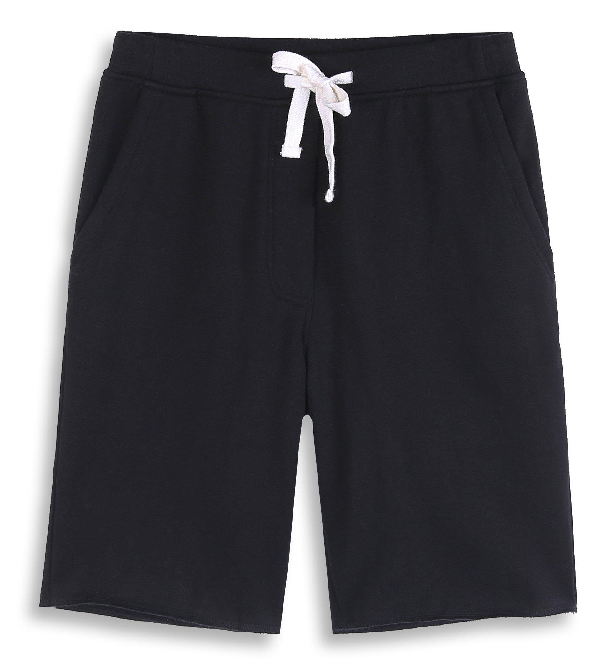 HARBETH Men's Casual Soft Cotton Elastic Fleece Jogger Gym Active Pocket Shorts Black XXL