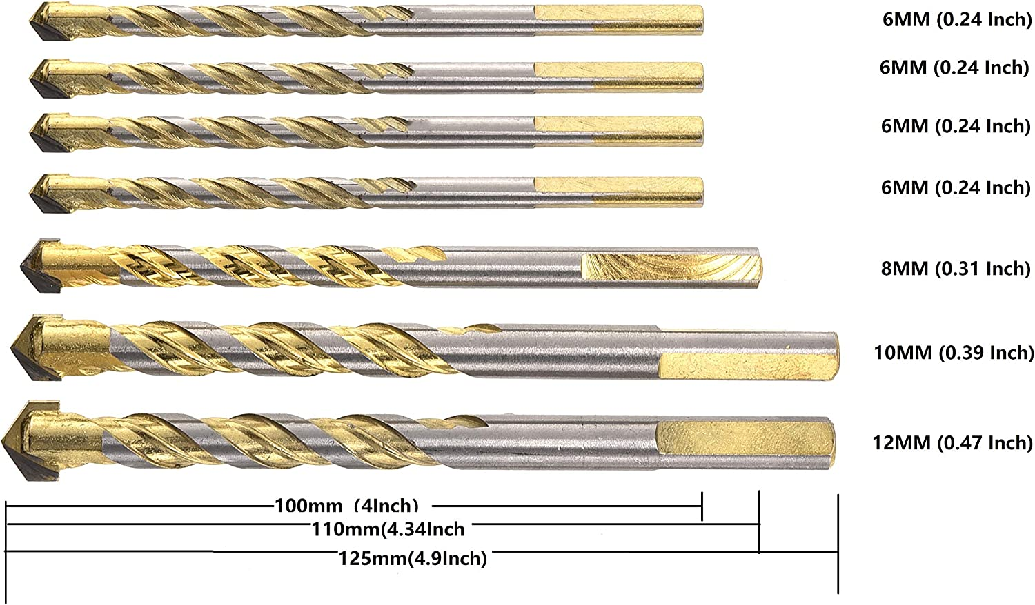 REDDSN Masonry Drill Bits Set,Triangular Shank Multi Material Drill Bit Set for Drilling Tile Ceramic Plastic and Wood Include Size 6//6//6//6//8//10//12mm 7pcs
