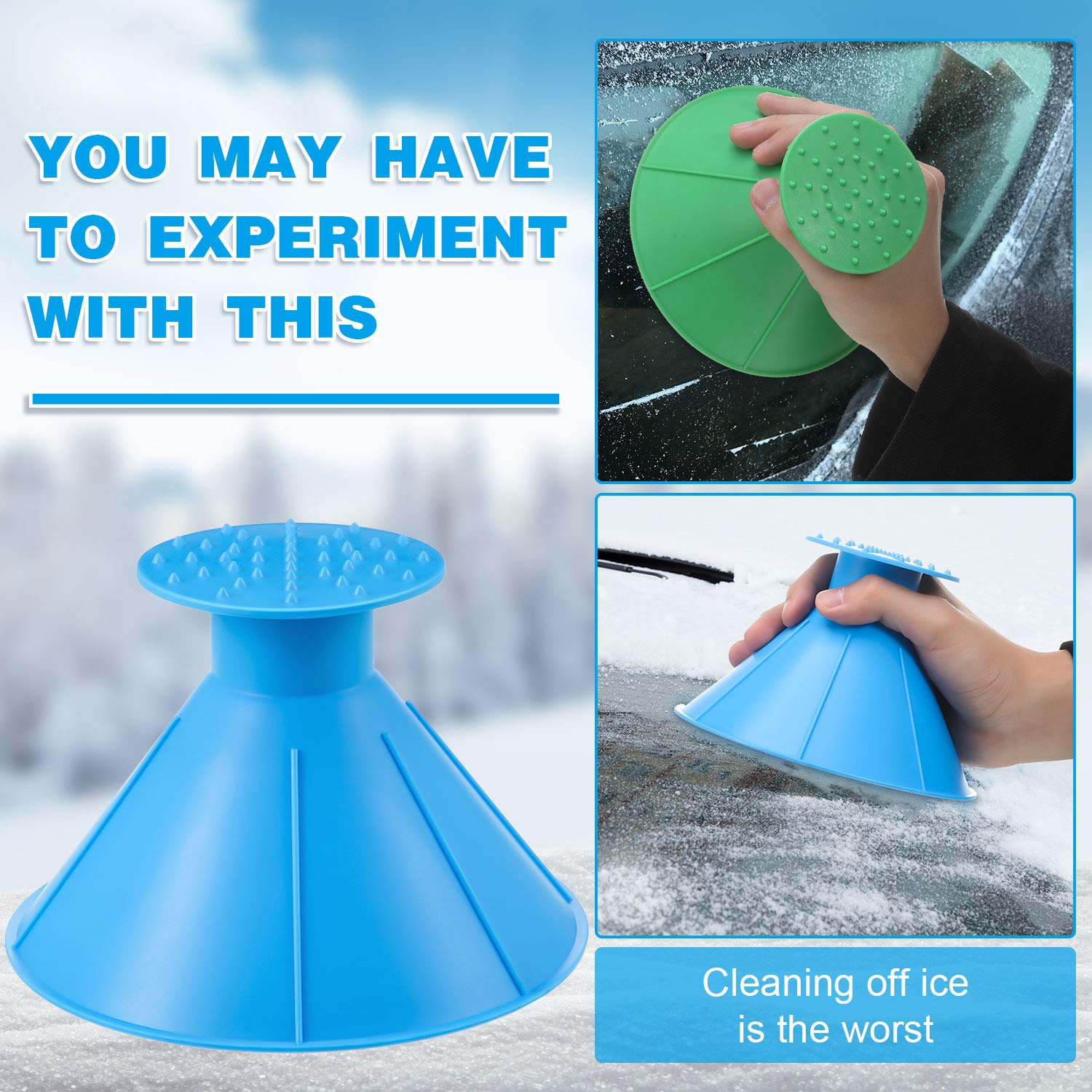 Mudder 2 Pieces Round Ice Scraper Window Cone Shaped Shovel Round Windshield Remover 2 Pieces Car Drying Towel Set for Snow Removal Car Window Cleaning Tool