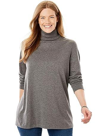 28b6beec92aad1 Woman Within Women's Plus Size Perfect Long Sleeve Turtleneck