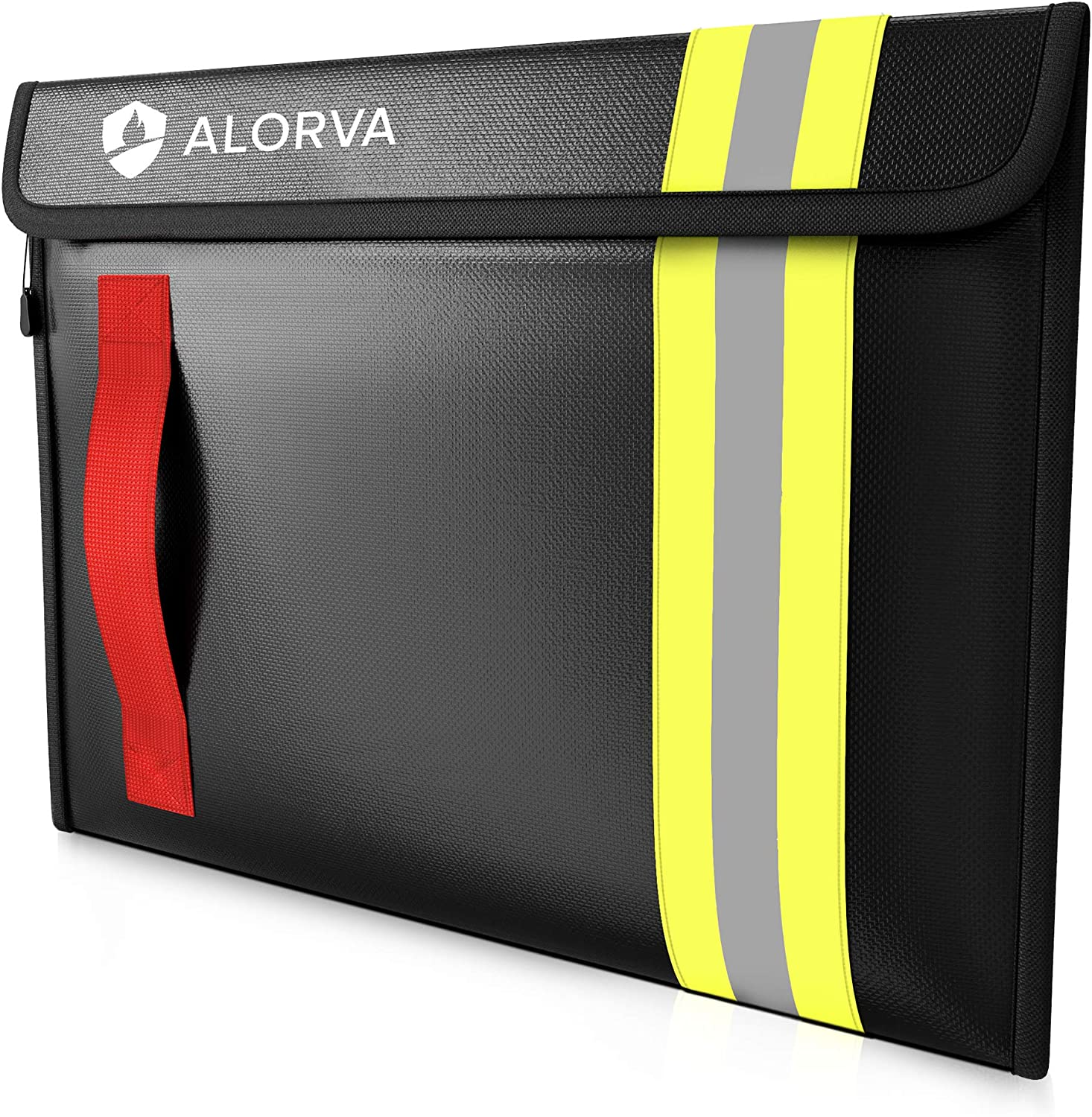 Alorva Fireproof & Water-Resistant Document Bag – 15.5 x 11 x 3-inch Pouch for Legal Documents & Valuables - Double-Layered Zippered Protection – Firefighter Designed (Black)
