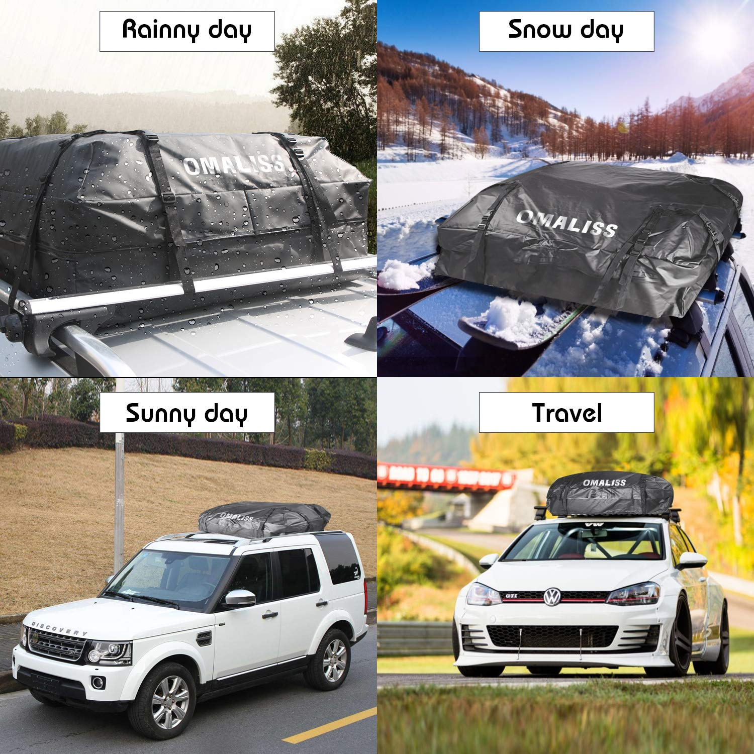 15 Cubic feet Cars Rack Travel Touring Omaliss Waterproof Car Roof Carrier Universal Soft Rooftop Bag Luggage Cargo Carriers Storage Box Sturdy Heavy Duty Straps Car Van SUV Racks