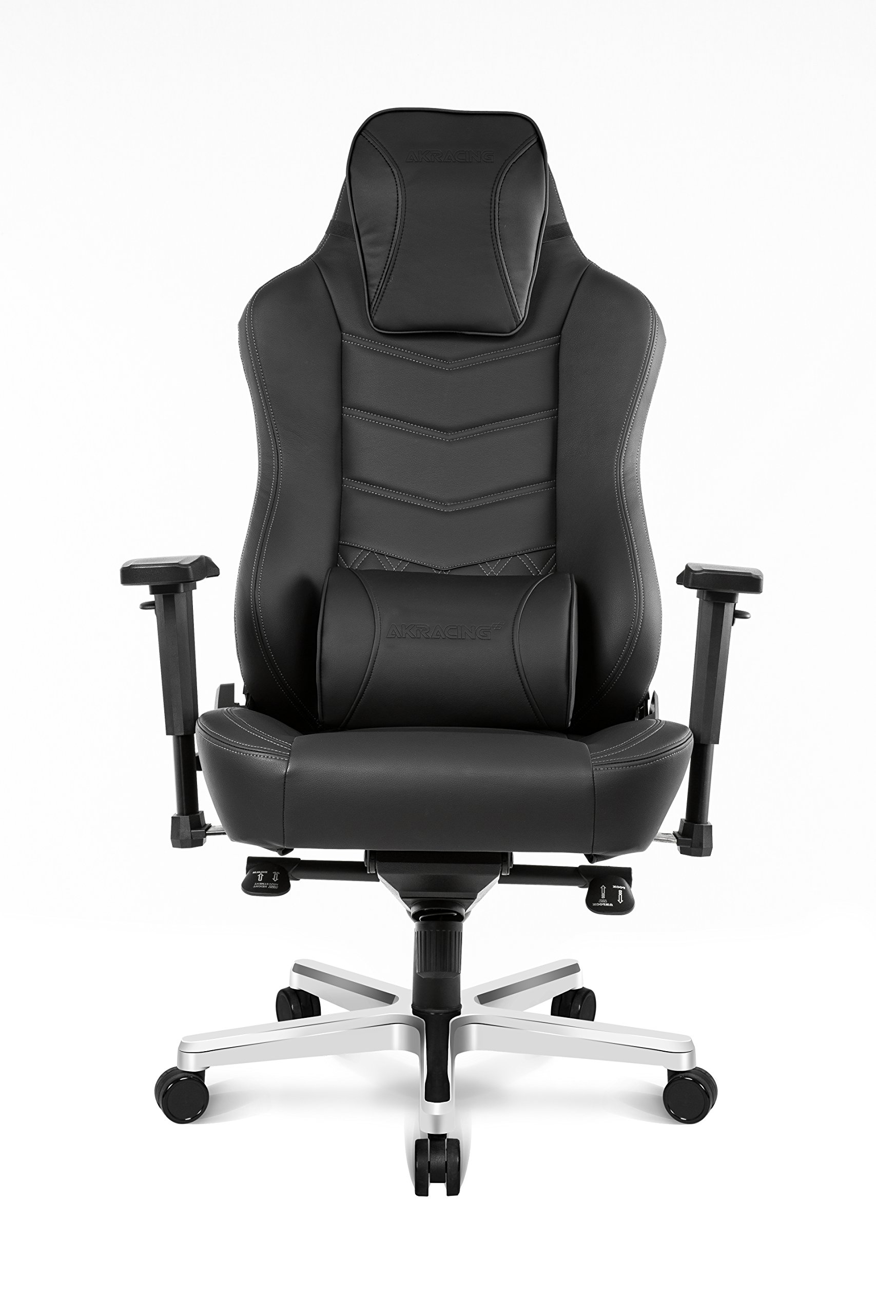 AKRacing Office Series Onyx Deluxe Executive Real Leather Desk Chair with High Backrest, Recliner, Swivel, Tilt, Rocker & Seat Height Adjustment Mechanisms, 5/10 Warranty - Black