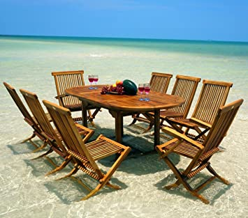 Wood-en-Stock Bali 8 Seater Garden Furniture Set in Oiled ...