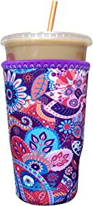 Koverz Neoprene Iced Coffee Java Sleeve - Insulator Sleeve for Cold Beverages, Neoprene Cup Holder - Compatible with Starbucks & McDonald's Coffee - Large Paisley
