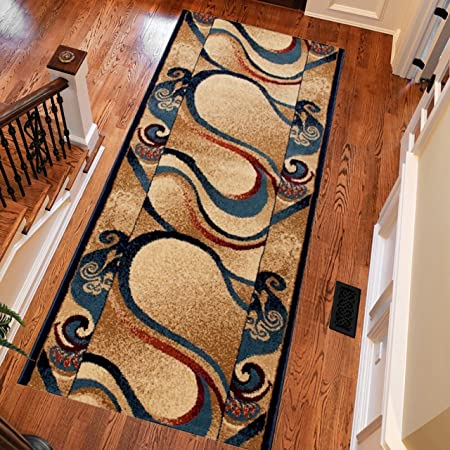 Tapis De Couloir Moderne Collection Royal Blue Colour Ecru