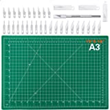 """Audab 18"""" x 12"""" Self-Healing Cutting Mat and Craft Knife kit with 30Pcs Hobby Blades Art Knife for Craft, Sewing, Fabric, Qui"""