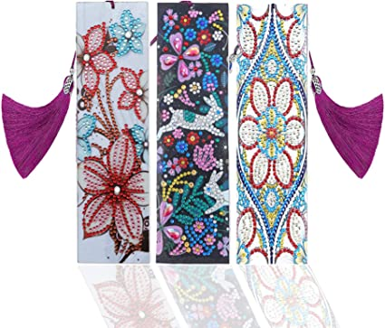 Crystal Rhinestone Embroidery with Tassel Cross Stitch Arts Craft for Book Gift 2 Pack DIY Bookmark 5D Diamond Painting Kits Peacock