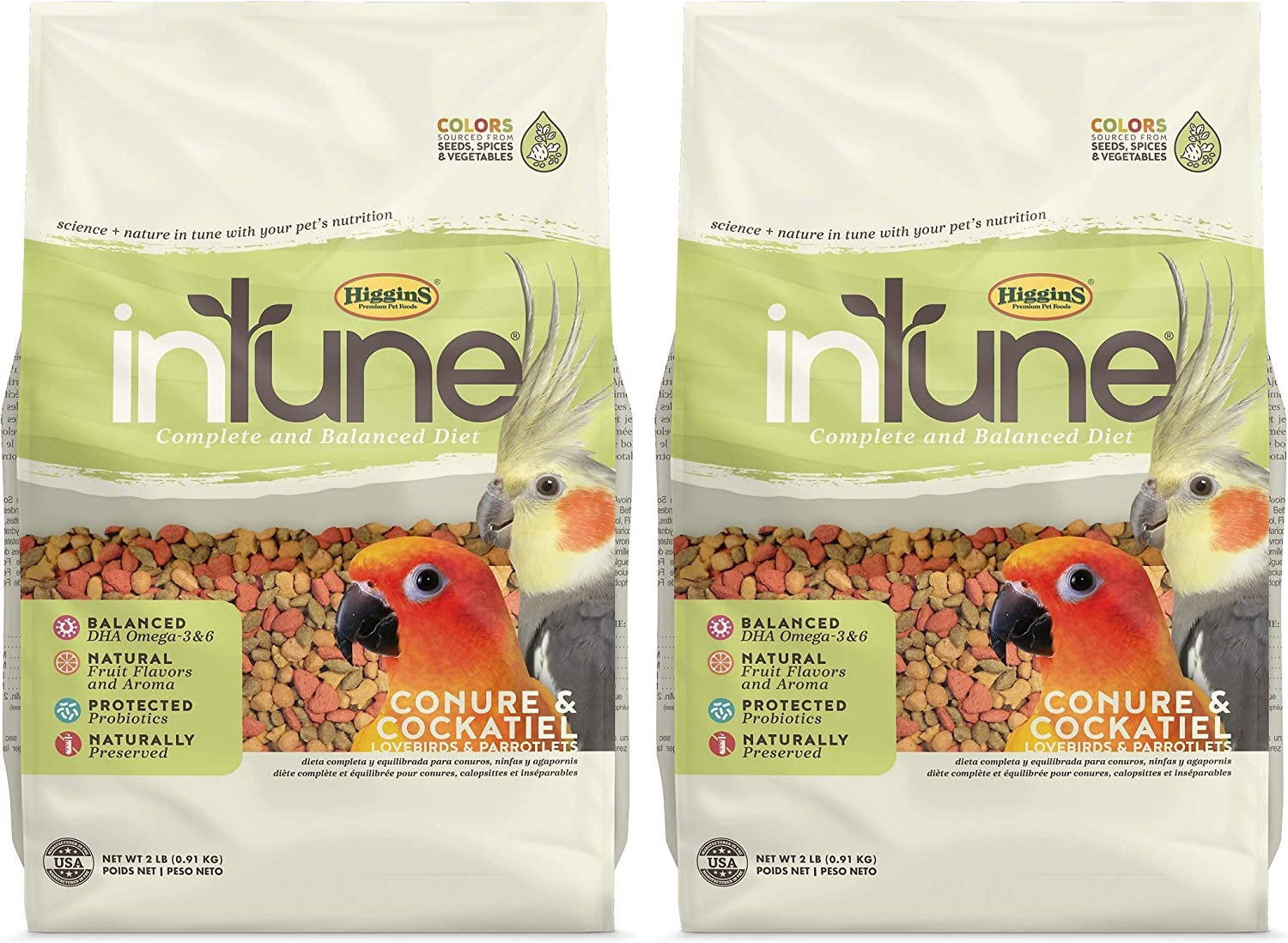 Higgins 2 Pack of Intune Complete and Balanced Diet Conure and Cockatiel Food, 2 Pounds Each