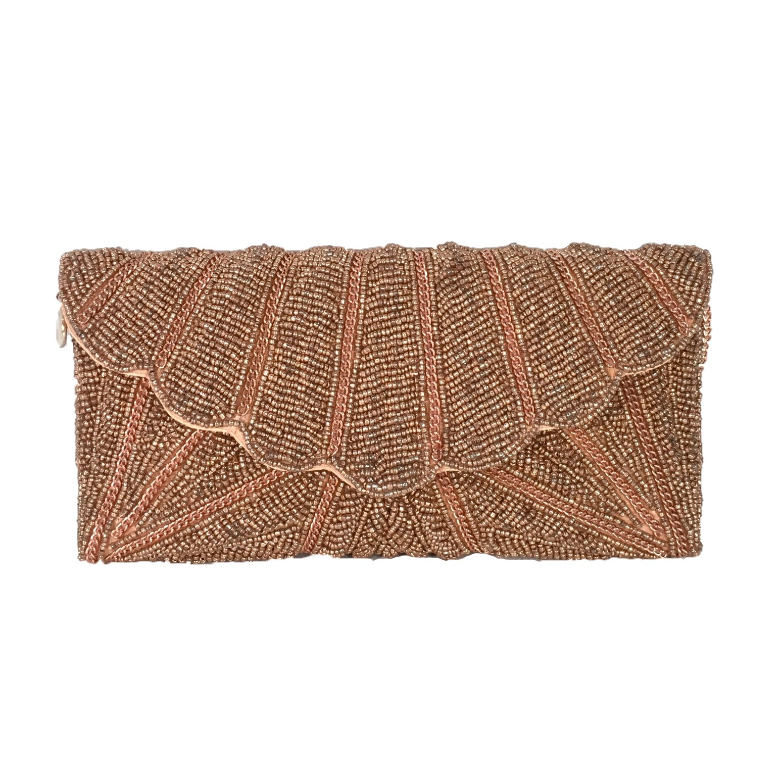 From St Xavier Zia Beaded Evening Clutch, Rose Gold