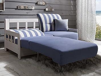 Schlafcouch weiß  Schlafsofa CAMPUS Blau Weiss Stoff Sofa Couch Massiv Holz ...