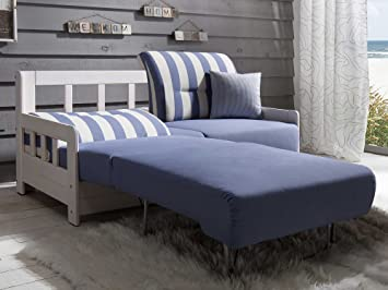 Charming Schlafsofa CAMPUS Blau Weiss Stoff Sofa Couch Massiv Holz Schlafcouch  Bettfunktion