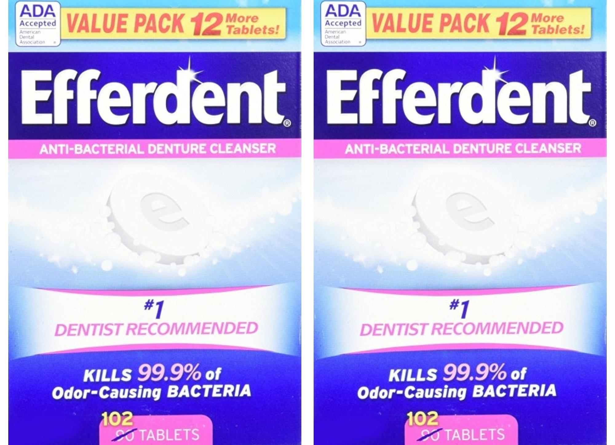 Efferdent Original Tablet Bonus 102 ct Pack of 2