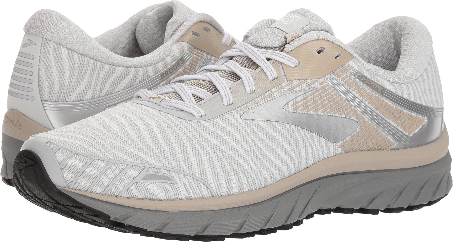 84a03f03f43 Galleon - Brooks Men s Adrenaline GTS 18 White Grey Tan 10.5 D US