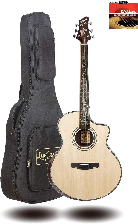 Guitarra acústica con parte superior sólida de 41 pulgadas, brillo ...