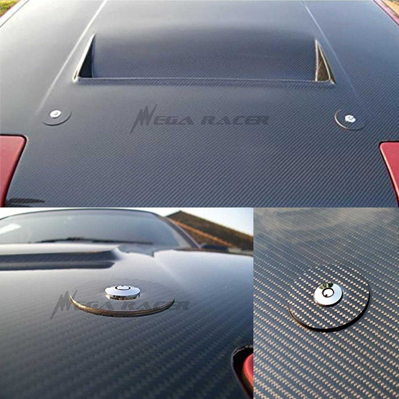Mega Racer Universal 100/% Carbon Fiber Front Hood Latch Pin Key Locking Kit Black Racing Sport Mount Bonnet Nismo Car Sedan Coupe
