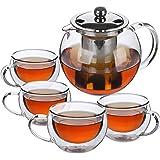 BTaT- Tea Pot, Tea Set, Set of 4, Tea Cups, Glass Teapot, Glass Tea Cup, Tea Kettles Stovetop, Tea Set for Adults, Glass…