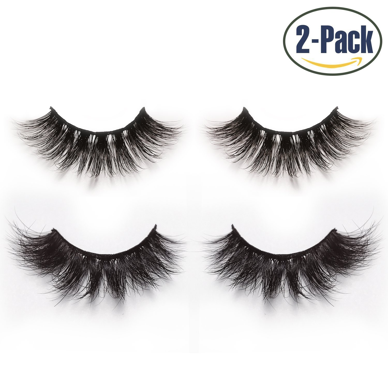 Alluring 3D & 4D Mink Fur False Eyelashes Pack of 2 Pairs,100% Natural Soft Curl Genuine Siberian Mink Hair Hand-made Luxury Fashion Fake Lashes in Premium Box Package with Mirror & Tweezer
