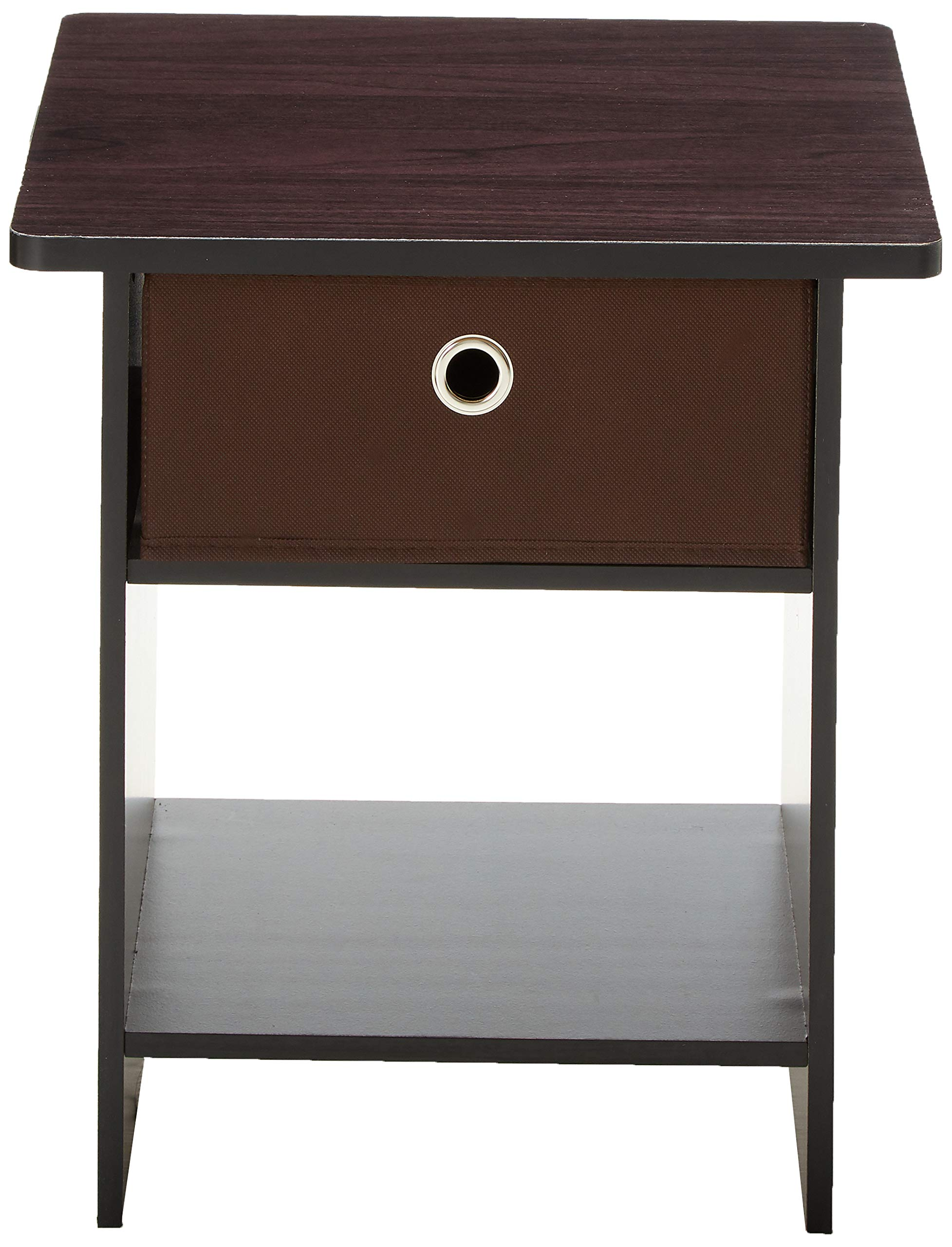 FURINNO Dario End Table/Night Stand Storage Shelf, 1-Pack, Americano/Medium Brown