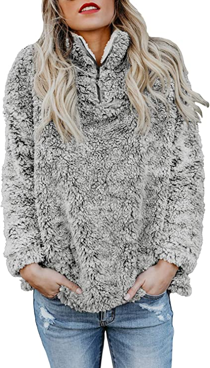 Chase Secret Womens Long Sleeve Zip Sweatshirt Fleece Pullover Outwear Coat with Pockets(S-XXL)