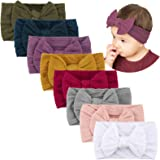 Makone Handmade Baby Headbands Stretchy Nylon Headband with Bows for Infant Baby Toddler Girls- Pack of 8