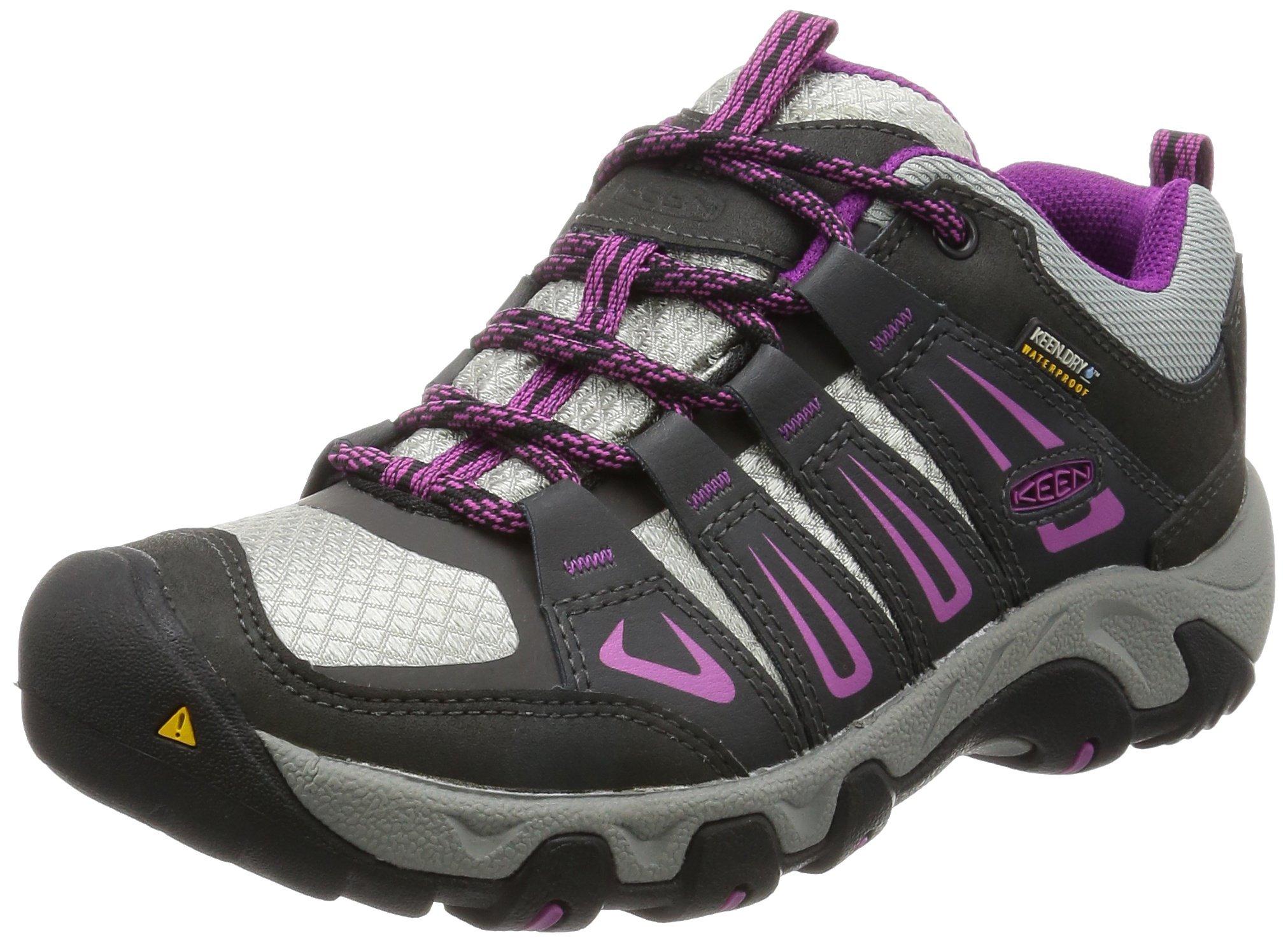 KEEN Women's Oakridge Waterproof Shoe, Raven/Viola, 5.5 M US