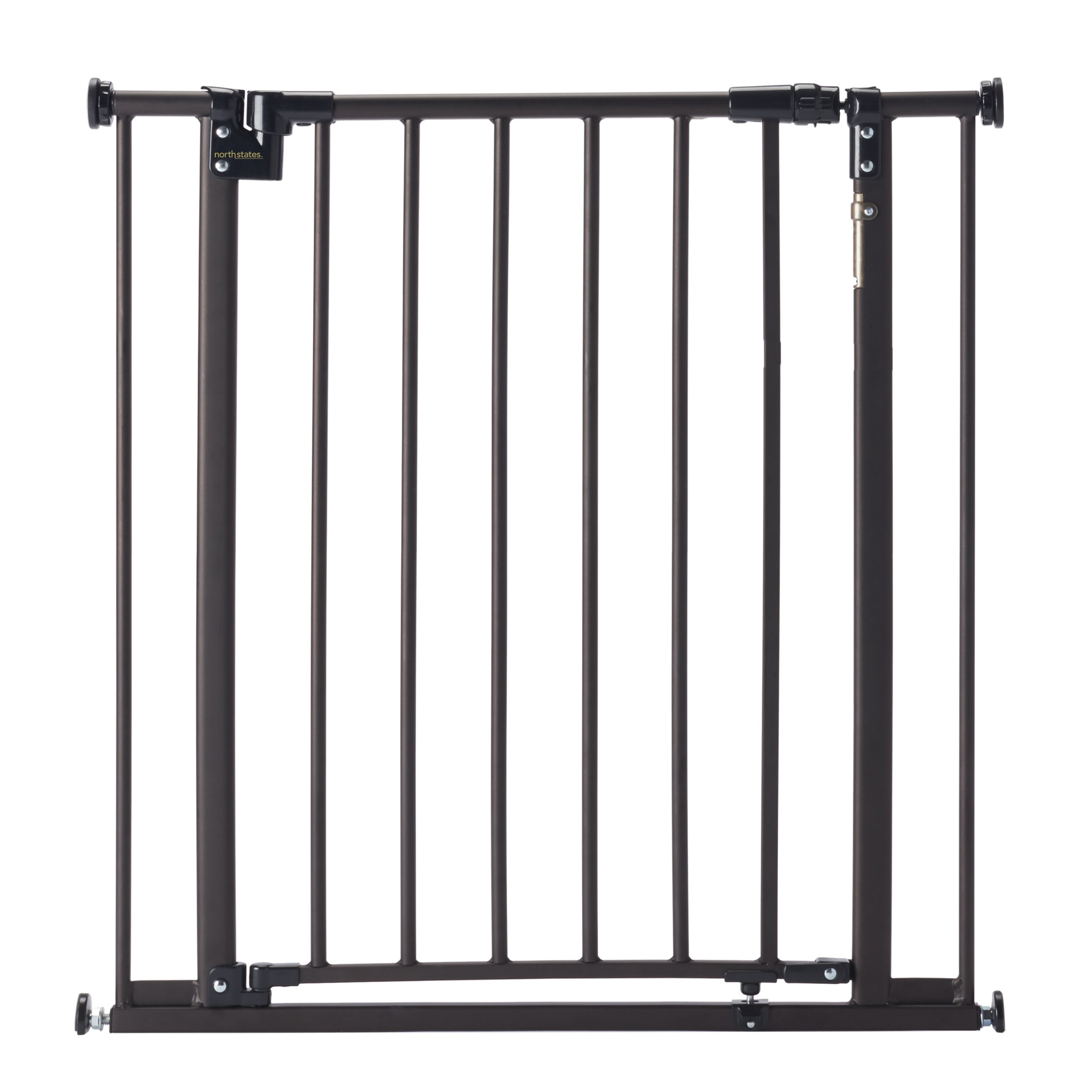 ''Light The Way Gate'' by North States: Light-Sensing LEDs add Extra Safety for gate Access at Night. Hardware and Pressure Mount. Fits Openings 28.5'' to 38.25'' Wide (29.3'' Tall, Bronze)
