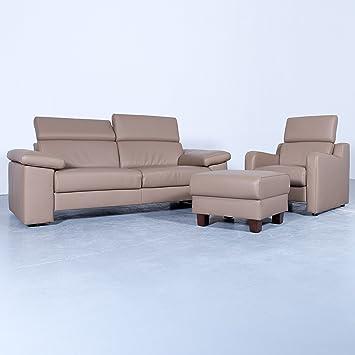 Akad Or Designer Sofa Garnitur Braun Beige Leder Zweisitzer Sessel