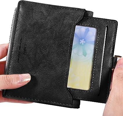 MENS RFID SAFE LUXURY BLACK SOFT LEATHER WALLET CREDIT CARD HOLDER COIN PURSE 48