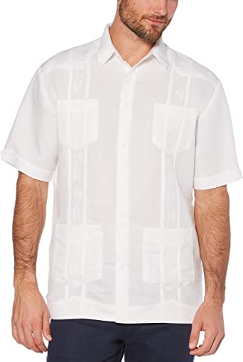 Manga corta Cubavera hombres bordado Guayabera, de color blanco brillante, gran: Amazon.es: Ropa y accesorios