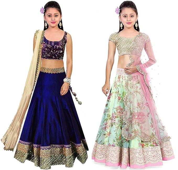 22575596dc2a Mahavir Fashion Girls Silk Semi-Stitched Lehenga Choli (Combo Bbb+ ...