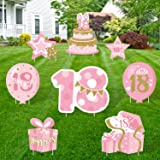 Huray Rayho 18th Birthday Yard Sign Cutouts with Stakes Happy 18th Birthday Yard Signs Lawn Outdoor Pink and Gold…
