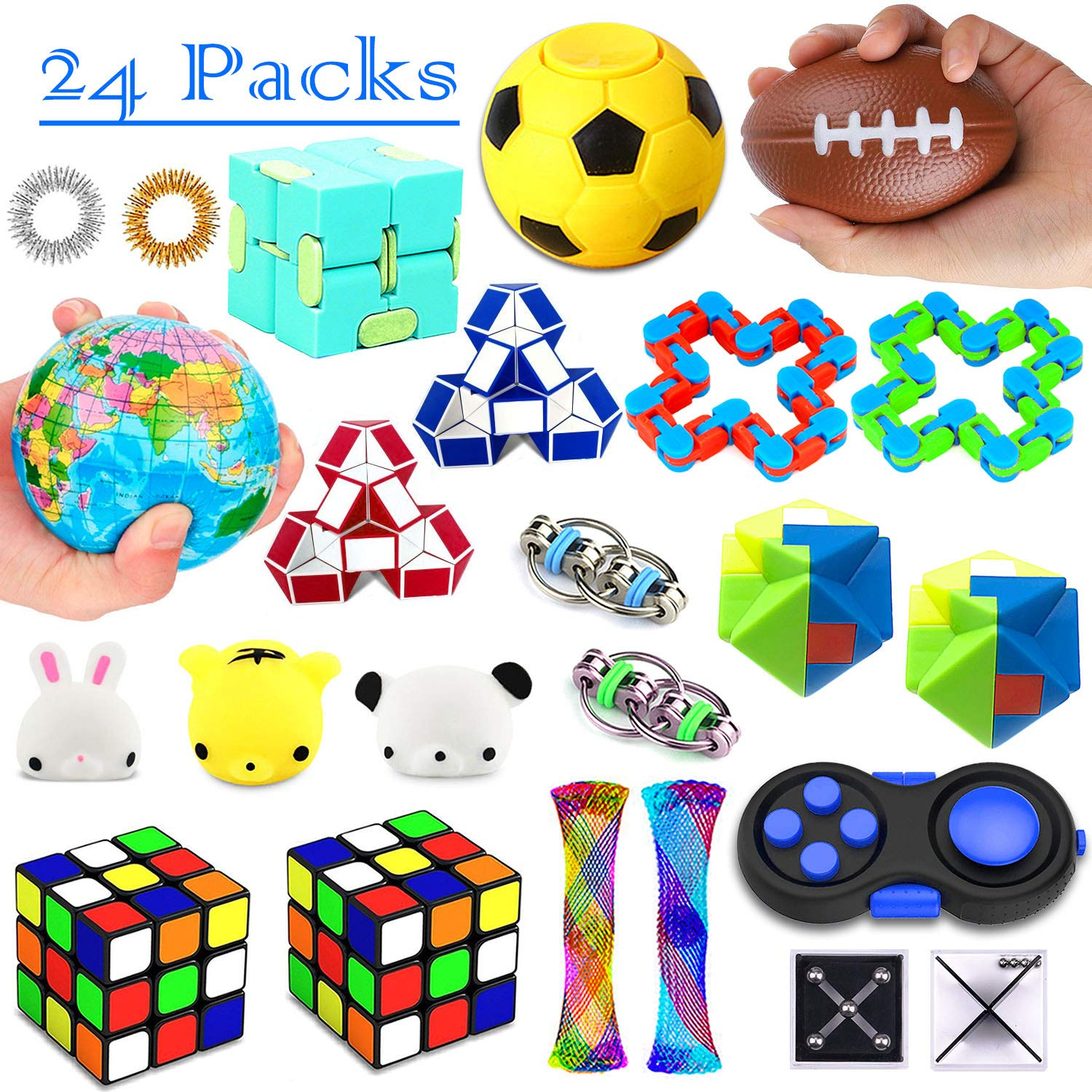 26 Pack Sensory Toys Set, Fidget Toys Pack Stress Relief Hand Toys for Adults Kids ADHD ADD Anxiety Autism - Perfect for Birthday Pinata Fillers, Classroom Treasure Box Prizes and Carnival Games by nobasco
