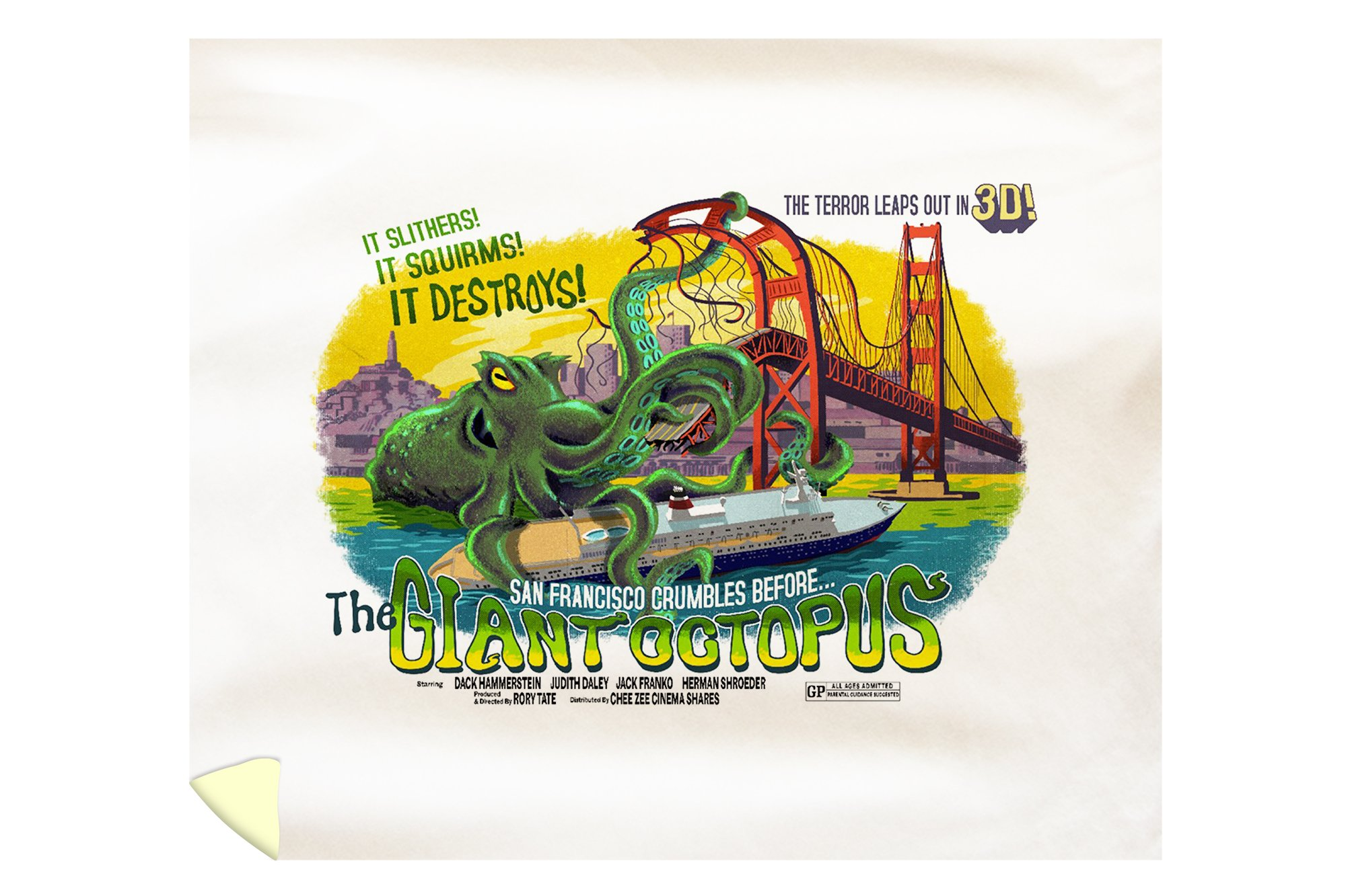 San Francisco, California - The Giant Octopus - B Movie Poster (88x104 King Microfiber Duvet Cover)