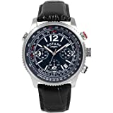 Rotary Men's Quartz Watch with Blue Dial Chronograph Display and Black Leather Strap GS00323/05