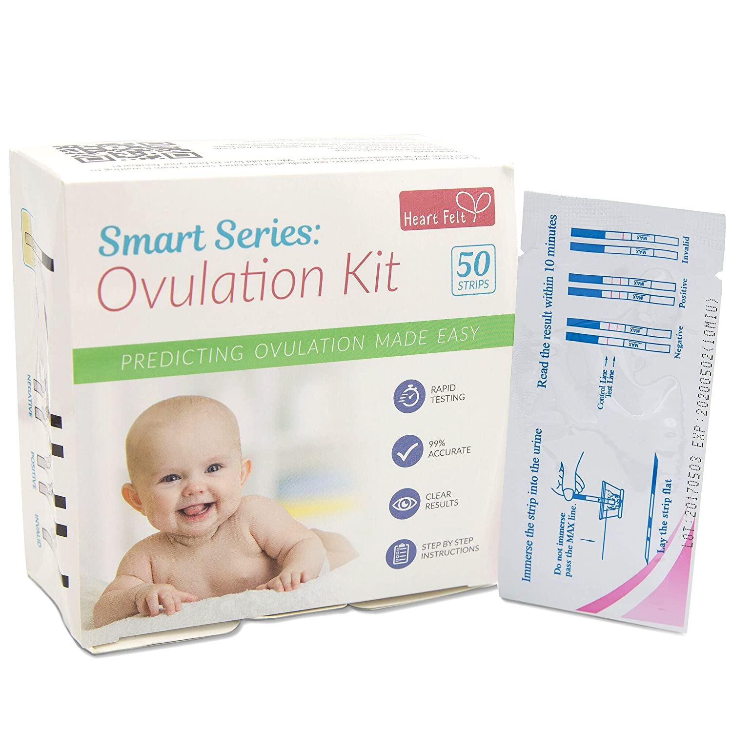 Ovulation Test Strips Kit (50 Bulk Pack, LH Type) Fertility Monitor Aid, Natural Conception Indicator, Easy Home Midstream Predictor Reader Sticks by Smart Series