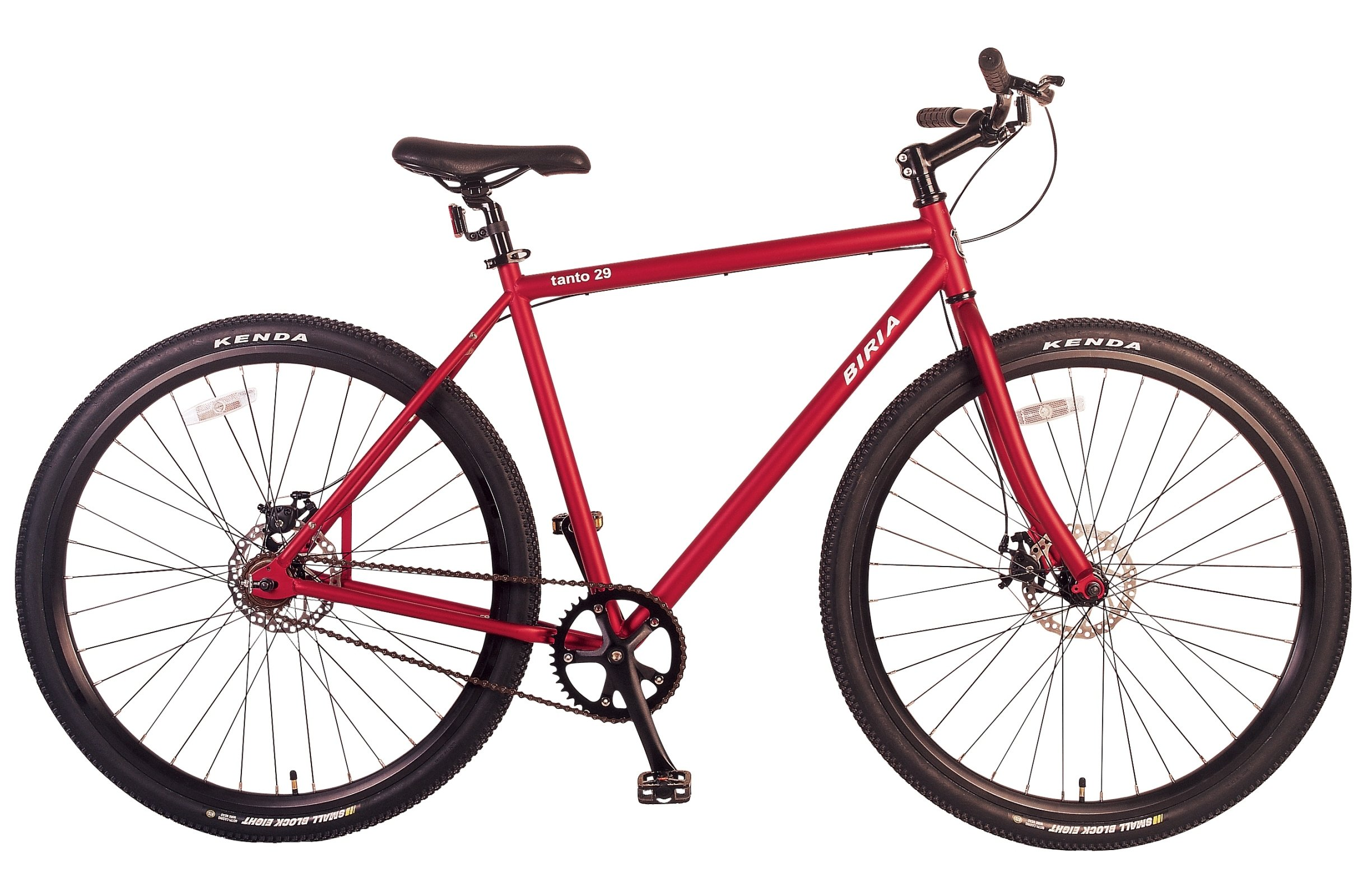 Bicycle single speed 29 inch wheel with Disc Brakes, RED, by Biria