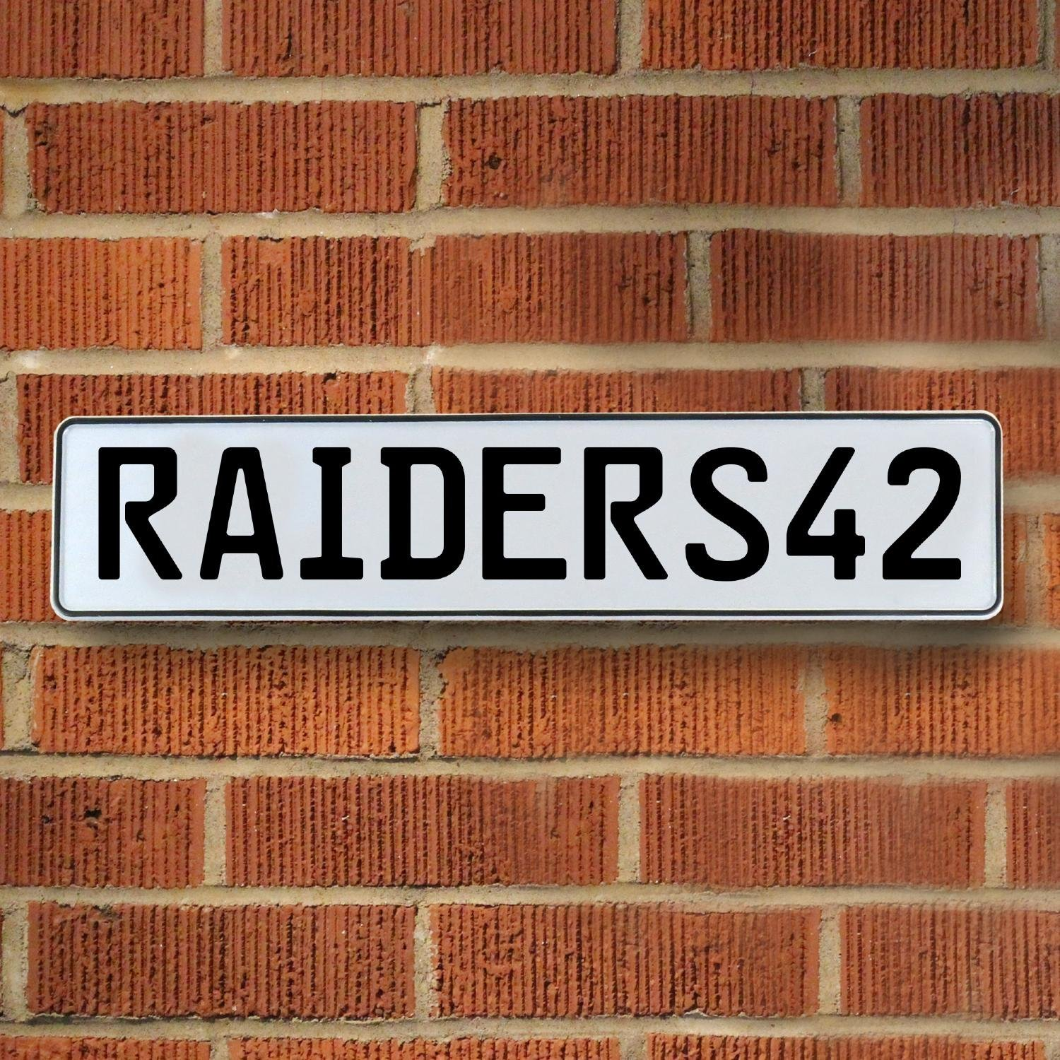 Vintage Parts 337124 RAIDERS42 NFL Oakland Raiders White Stamped Street Sign Mancave Wall Art