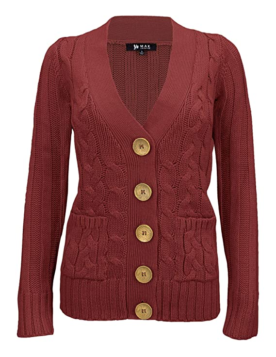 Cottagecore Clothing, Soft Aesthetic YEMAK Womens Long Sleeve Button Down Two Pocket Cable Knit Casual Cardigan Sweater $32.95 AT vintagedancer.com